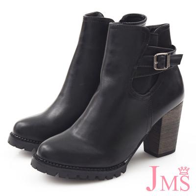 JMS-歐美風都會時尚側皮革搭釦粗跟短靴-黑色