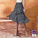 ILEY伊蕾 星星花朵層次印花蛋糕裙(黑)