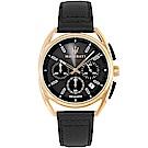 MASERATI 瑪莎拉蒂 經典三眼計時手錶-黑X玫瑰金框/40mm