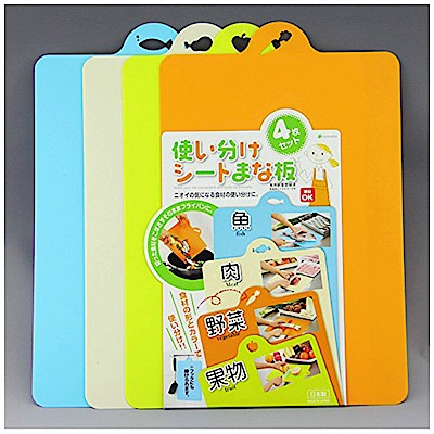 WAVA 日本inomata超輕薄抗菌樹脂軟切菜砧板4色套裝