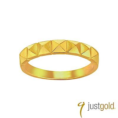 鎮金店Just Gold 搖滾鉚釘黃金線戒-窄版