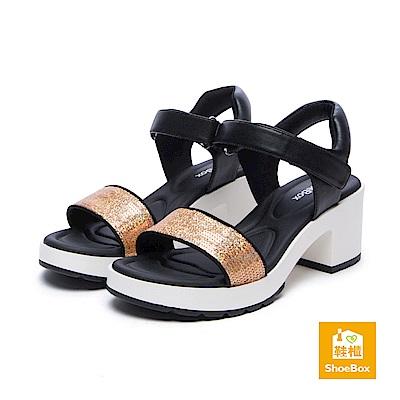 達芙妮DAPHNE ShoeBox系列 涼鞋-亮片一字帶魔鬼氈高跟涼鞋-金