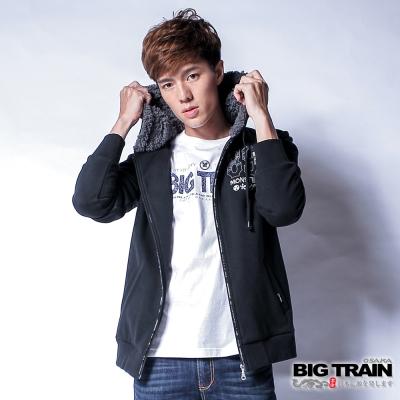 BIG TRAIN 文字貼布繡連帽針織外套-男-黑色