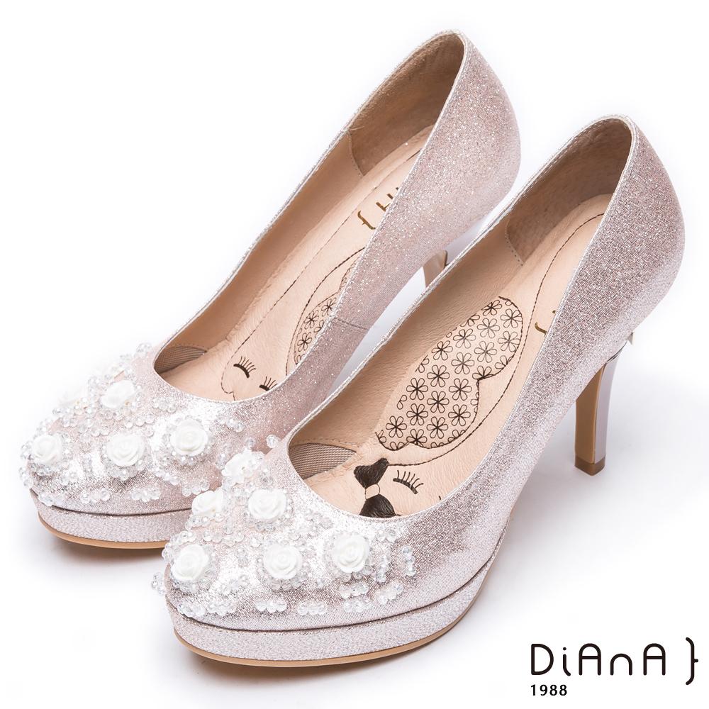 DIANA夢幻逸品玫瑰花水鑽新娘跟鞋-漫步雲端瞇眼美人款–粉