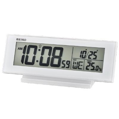 SEIKO 日本精工 電子鬧鐘 溫度/日期(QHL072W)-白/20.6x8.3cm