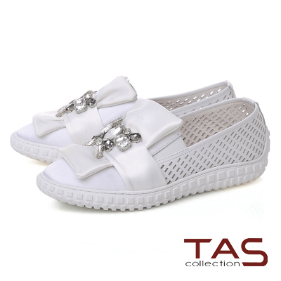 TAS 水鑽蝴蝶結牛皮打洞休閒鞋-優雅白