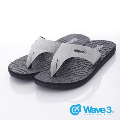 WAVE3【男】台灣製 潛水衣面料/瑜珈墊人字夾腳拖鞋~黑灰