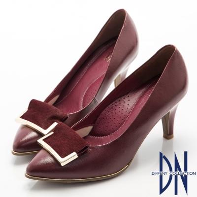 DN-高貴優雅-柔軟羊漆皮金屬飾扣尖頭跟鞋-紅