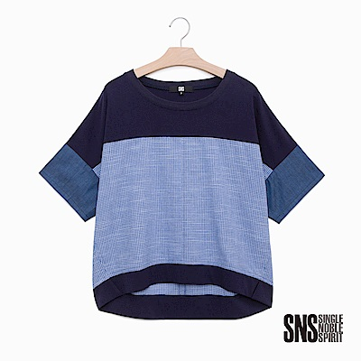 SNS 夏日記憶湛藍異材質拼接上衣(1色)
