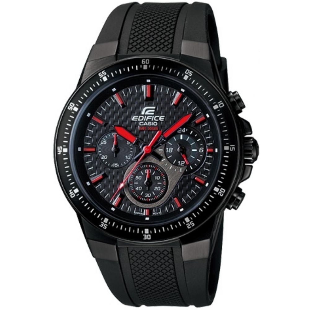 CASIO EDIFICE 碳纖維壓胎痕賽車膠帶錶-紅指針