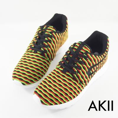 【AKII】韓國空運條紋透氣網布空氣增高鞋 ↑6cm 紅綠-女鞋