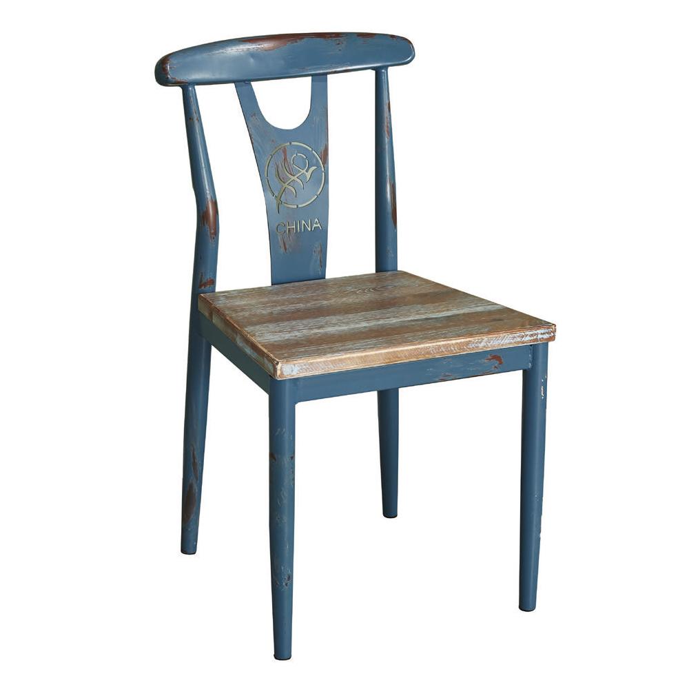 AT HOME-工業風仿舊實木設計鐵藝餐椅(47*43*83cm)勝利