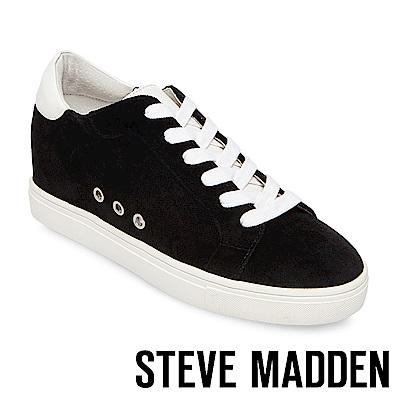 STEVE MADDEN-STEAL 天鵝絨內增高綁帶休閒鞋-黑色
