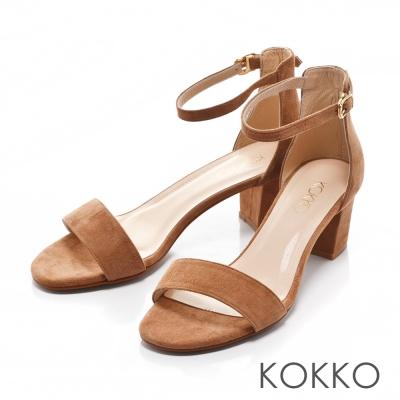 KOKKO-復古瑪麗珍一字帶繫踝粗跟真皮涼鞋-麂皮棕