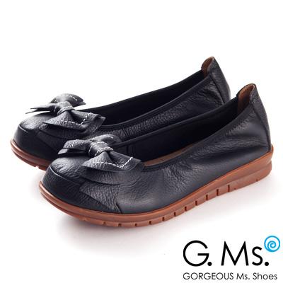 G.Ms.  MIT系列-全牛皮車線雙層蝴蝶結娃娃鞋--氣質黑
