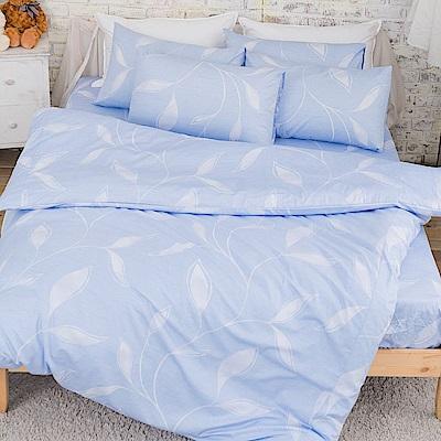 kokomos扣扣馬 鎮瀾宮大甲媽授權精梳棉205織紗新式兩用被單人床包被套組 飄羽-藍