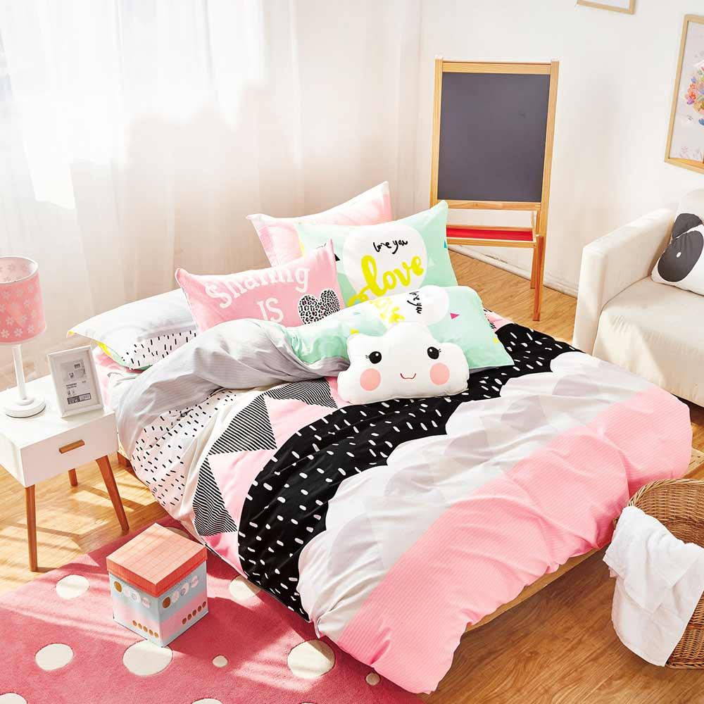 Ania Casa-台灣製100%純棉 -  雙人床包枕套三件組- 愛茉莉