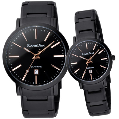 Roven Dino羅梵迪諾 色彩抉擇時尚日期對錶-黑x玫瑰金/40+30mm