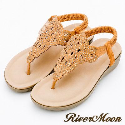 River&Moon大尺碼-超Q軟修腿亮鑽鏤空T字厚底涼鞋-黃棕