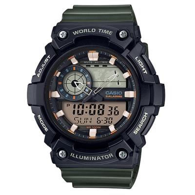 CASIO 世界地圖時間設計雙顯運動錶(AEQ-200W-3A)墨綠色X黑51.4mm
