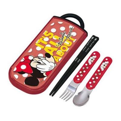 SKATER-迪士尼米妮抽屜式餐具組-點點