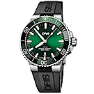 Oris豪利時 Aquis 時間之海潛水300米日期機械錶-綠水鬼/43.5mm