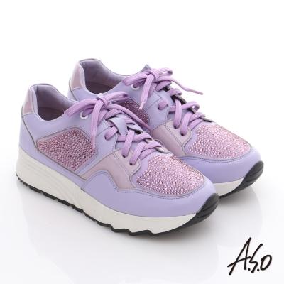 A.S.O 繽紛冒險 全真皮水鑽時尚健走鞋 淺紫色