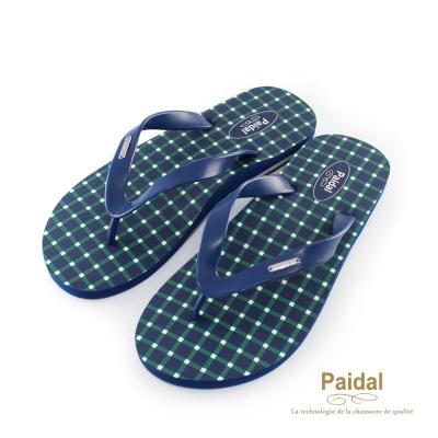 Paidal 男款簡單生活方格夾腳拖海灘拖人字拖鞋-深藍