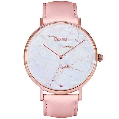 MEDOTA Marble大理石面快拆粉色真皮錶帶女生手錶