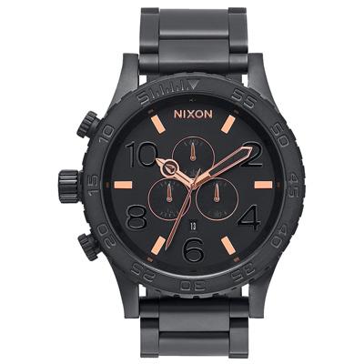 NIXON The 51-30 CHRONO 潛龍諜影運動腕錶-玫瑰金線x霧面黑/51mm