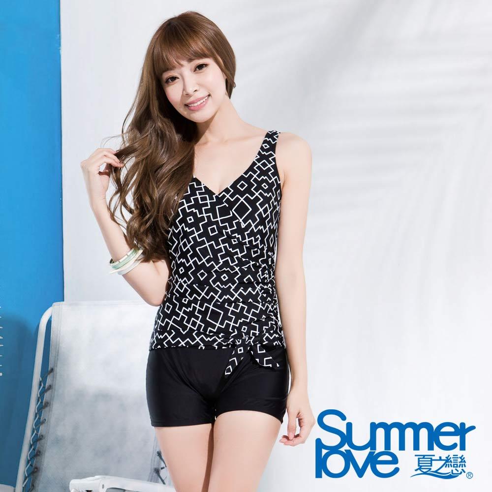 夏之戀SUMMERLOVE 黑白幾何連身四角泳衣