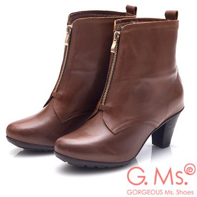 G.Ms. MIT系列-2WAY翻領仿皮草拉鍊粗跟短靴-棕色
