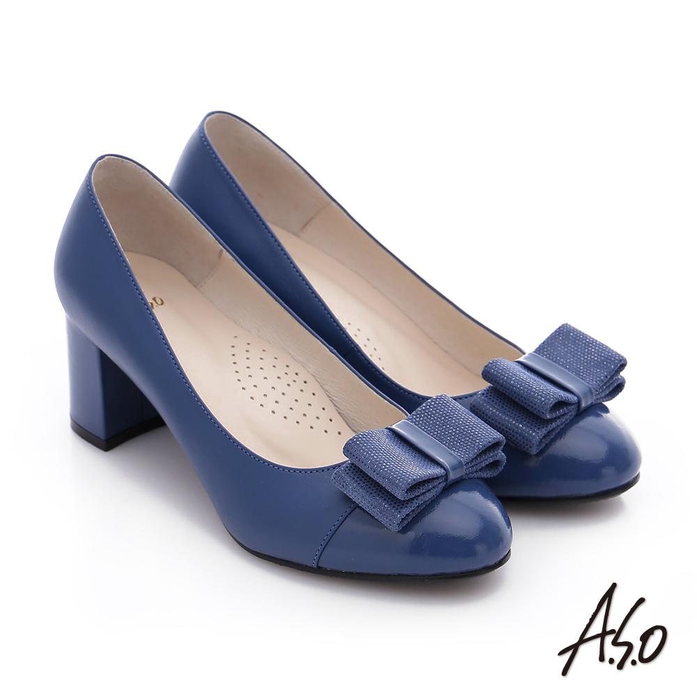 A.S.O 注目嬌點 全真皮蝴蝶結窩心粗跟高跟鞋 藍色