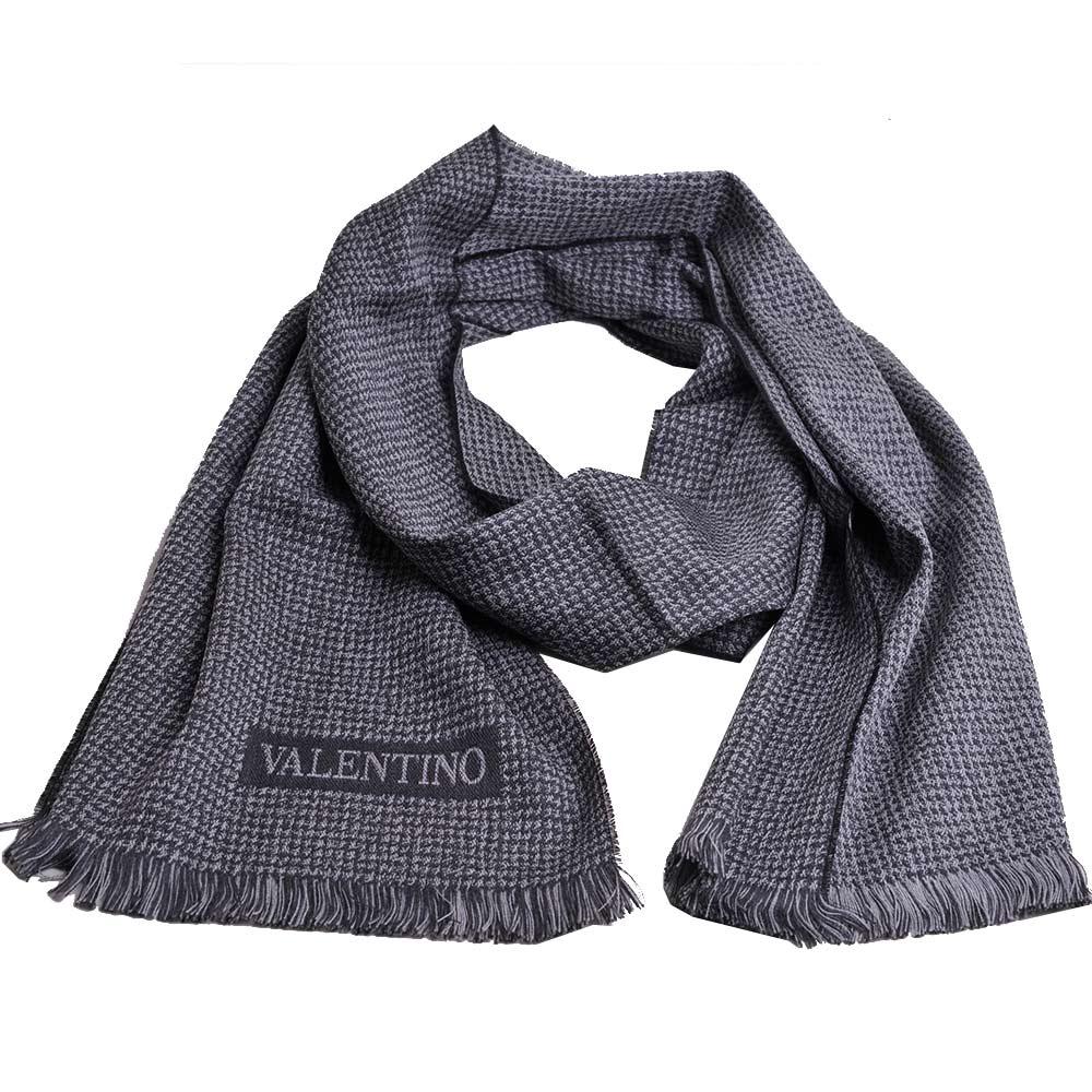 VALENTINO 小千鳥圖騰字母LOGO高質感羊毛圍巾(灰)