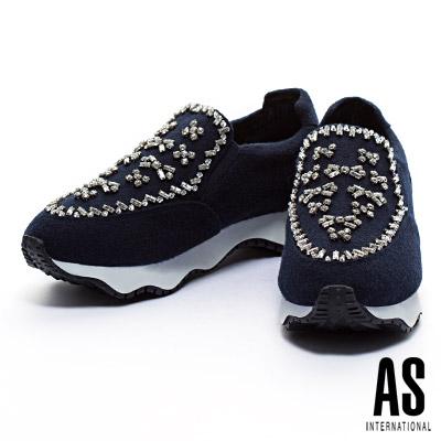 休閒鞋 AS 手工縫鑽造型毛呢布厚底休閒鞋-藍