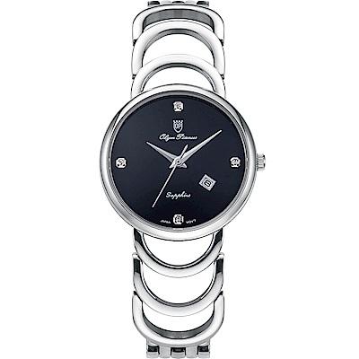 Olym Pianus 奧柏表 恬靜時光石英腕錶-黑 2491LS