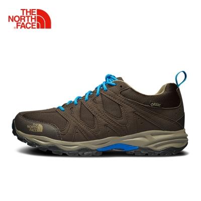 The North Face北面男款棕藍色防水透氣徒步鞋