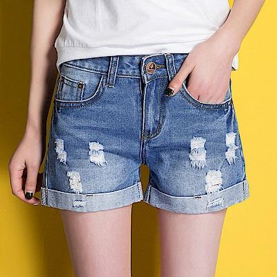 ALLK  褲管反摺刷破牛仔褲 藍色 (腰圍27-31)
