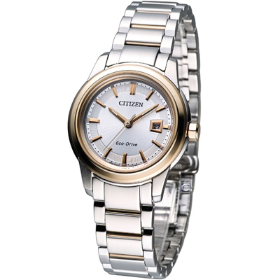 CITIZEN-Eco-Drive-簡約優雅仕女腕錶-FE1074-54A-銀x雙色-31mm