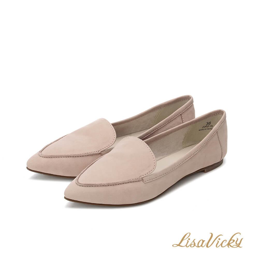 LisaVicky羊皮舒適尖頭平底鞋-暗粉紅色