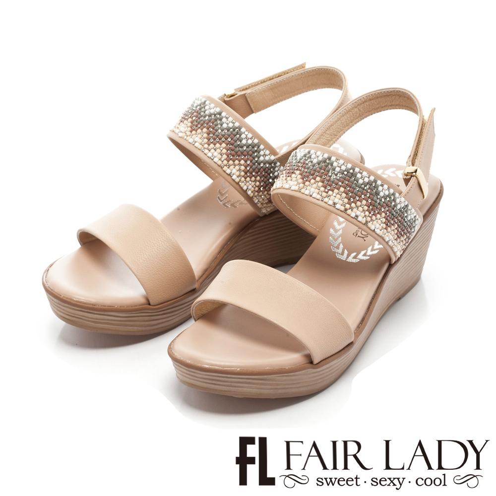 Fair Lady 幾何圖形串珠裝飾楔型涼鞋 粉