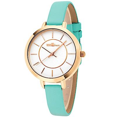 ViVi Fleurs 甜美年代皮革時尚腕錶-綠/ 33 mm