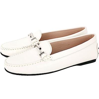 TOD'S Double T 金屬設計豆豆樂褔鞋(女鞋/白色)