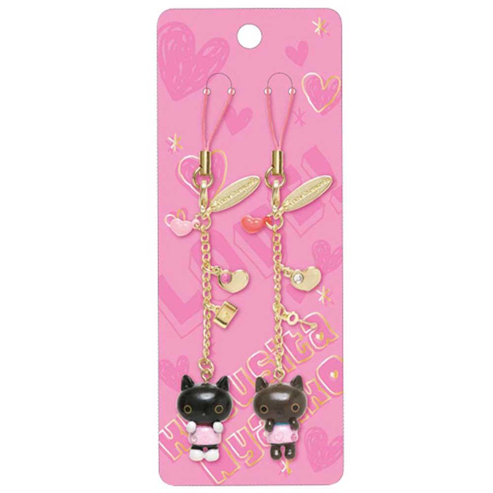 小襪貓心心相印手機吊飾-情侶裝