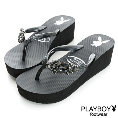 PLAYBOY 奢華日常 水鑽裝飾高台夾腳拖鞋-黑(女)