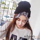 A-Surpriz 蝶結綁帶街頭風毛線帽(黑)