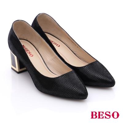 BESO-簡約知性-真皮金屬粗跟鞋-黑色