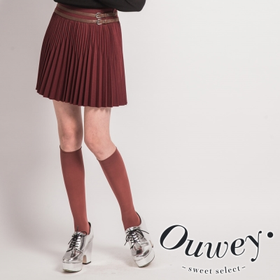 OUWEY-學院俏麗膝上壓摺短裙