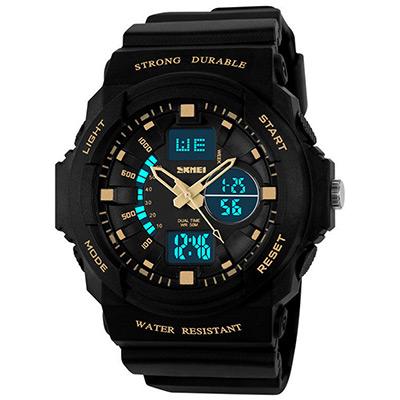SKMEI 時刻美0955-雙機芯多功能防震防水電子錶 (金色)
