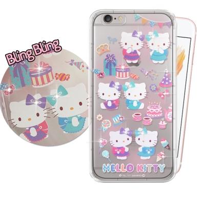正版凱蒂貓 iPhone 6S Plus 施華洛世奇 彩鑽氣墊保護殼(派對)